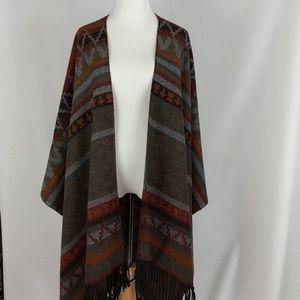 Scarf wrap cape shawl, Aztec boho Fringe